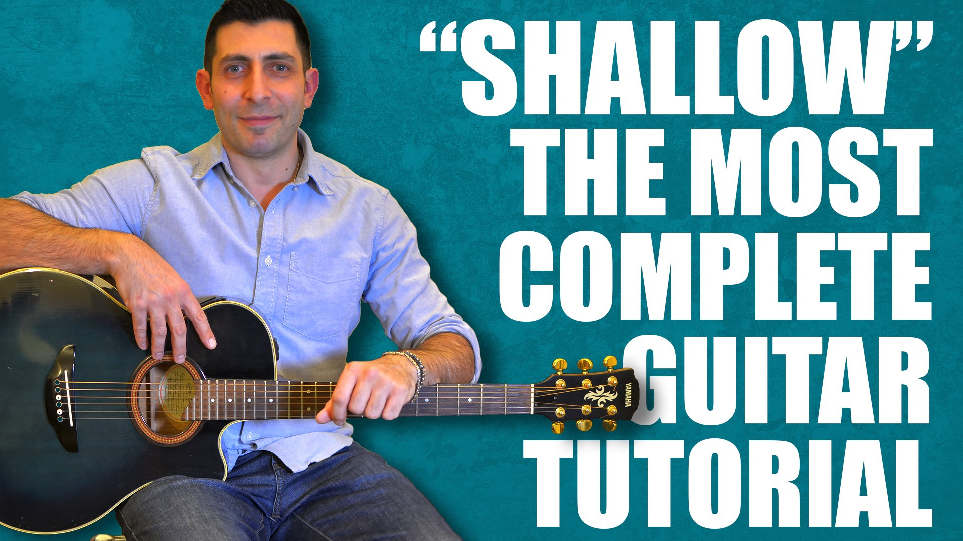How to play shallow on the acoustic guitar, fingerstyle, chords, guitar strumming patterns